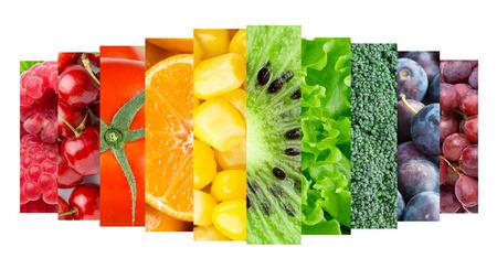 Collection avec des fruits de couleurs, de baies et de légumes. Concept de nourriture saine