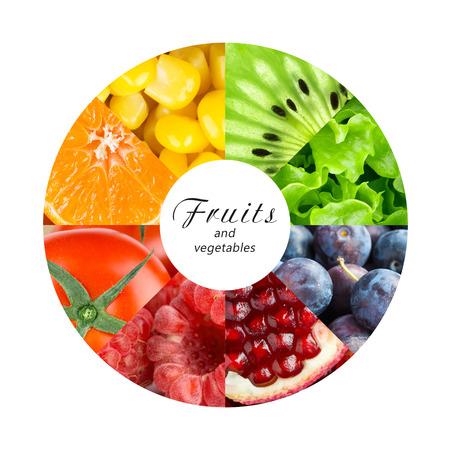 alimentacion sana: Frutas y verduras frescas. Concepto de alimentos saludables