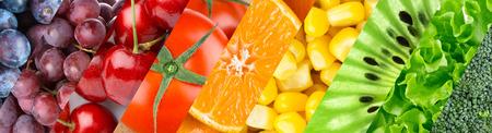frutas: Color de frutas, bayas y verduras. Fondo del alimento saludable