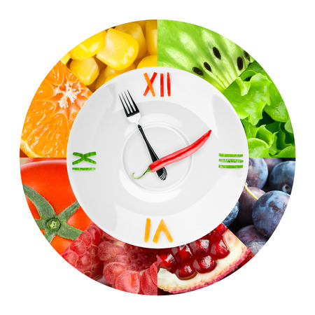 food       plate: Food clock with fruits and vegetables. Healthy food concept