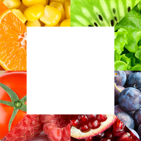 collages: Frame of color fruits and vegetables. Food concept