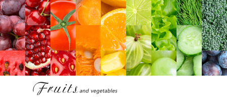 food concept: Fresh fruits and vegetables. Healthy food concept