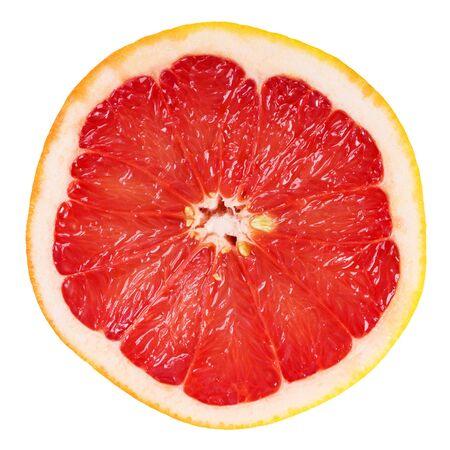 frutas tropicales: Rodaja de pomelo fresco en el fondo blanco Foto de archivo