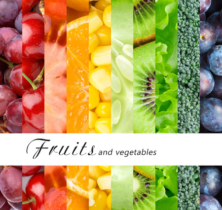 color: Fresh fruits and vegetables. Healthy food concept
