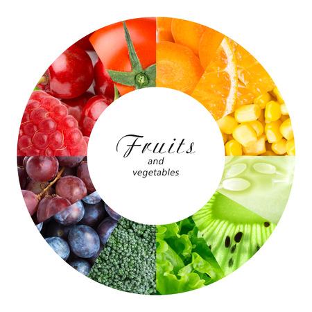 comidas saludables: Frutas y verduras frescas. Concepto de alimentos saludables
