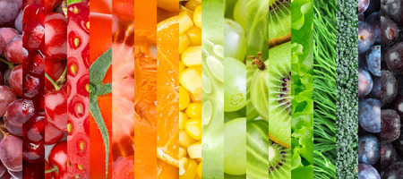 Fresh food. Healthy food background. Collection with different fruits, berries and vegetables Stock Photo