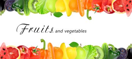 legumes: Fruits et légumes frais couleur. Concept de nourriture saine Banque d'images