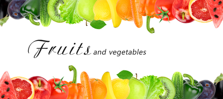 Fresh color fruits and vegetables. Healthy food concept