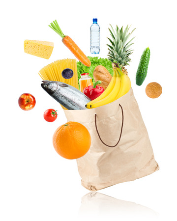 grocery bag: Grocery bag with healthy food on white background
