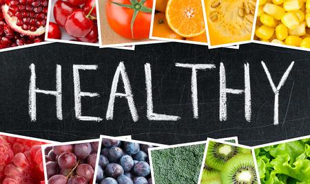 saludable: el concepto de salud. frutas y verduras de colores frescos Foto de archivo