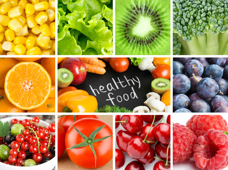 Healthy fresh color food backgrounds. Fruits and vegetables 免版税图像