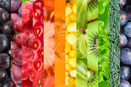 verduras verdes: Collage con frutas y verduras. Fondo de alimentos frescos
