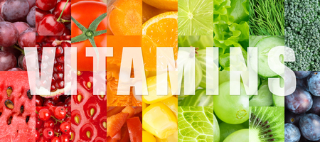 healthy foods: Fresh color fruits and vegetables concept. Vitamins