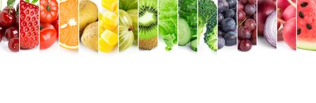 verduras verdes: Frutas frescas y verduras de color. Concepto de alimentos saludables Foto de archivo