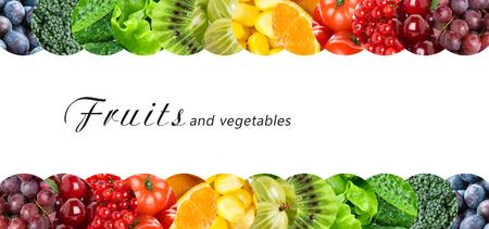 еда: Свежие фрукты и овощи. Концепция здорового питания