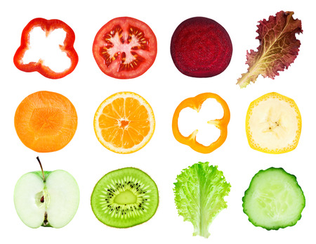 Collection of fresh fruit and vegetable slices on white background 版權商用圖片 - 44980605