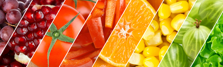 Color fruits, berries and vegetables. Healthy food background. Fresh food Standard-Bild