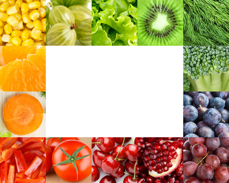 Fresh fruits and vegetables frame. Food concept Archivio Fotografico