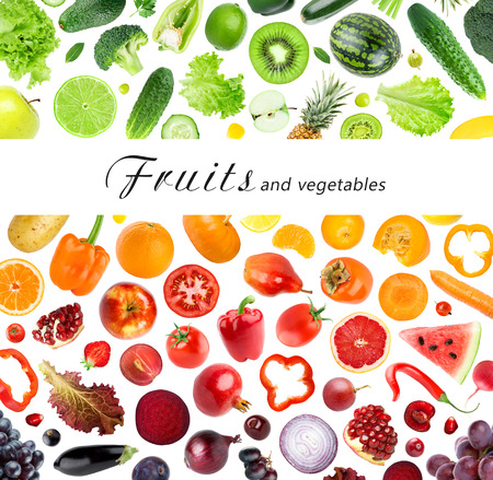 fresh vegetables: Collection of fruits and vegetables on white background. Fresh food