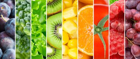 comida sana: Frutas y verduras frescas. Fondo de la comida sana