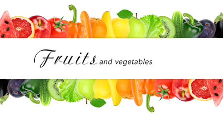 Fresh color fruits and vegetables. Healthy food concept 版權商用圖片 - 45854108