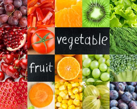 frutas: Alimento sano color fresco. Las frutas y verduras de fondo Foto de archivo