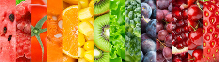 Collection with different fruits, berries and vegetables. Healthy food background Stock Photo