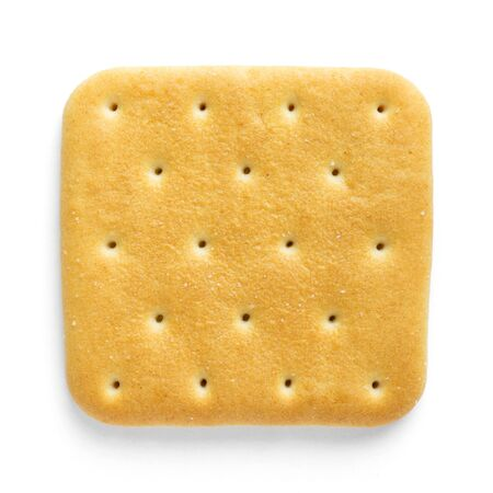 biscuits: Cracker closeup on white background. Top view