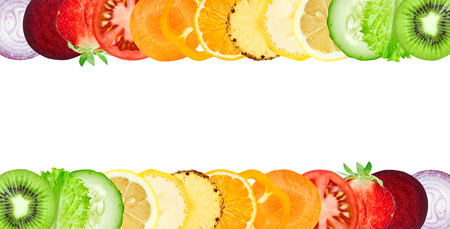 Color fruit and vegetable slices on white background. Food concept Imagens - 46352744