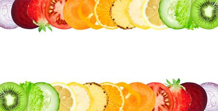 Kleuren groenten en fruit plakken op een witte achtergrond. Food concept