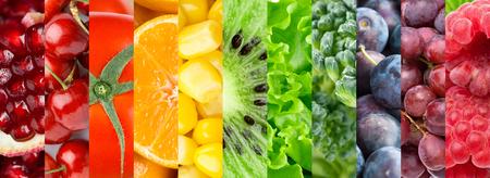 mazorca de maiz: Colecci�n con diferentes frutas, bayas y verduras. Fondo de la comida sana Foto de archivo