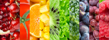 naranja color: Collection with different fruits, berries and vegetables. Healthy food background Foto de archivo