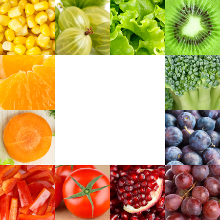 fresh fruits: Fresh fruits and vegetables frame. Food concept Stock Photo