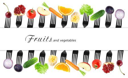 Las frutas y verduras en tenedor. concepto de la comida