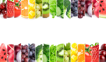 Fresh fruits and vegetables. Healthy food concept Imagens - 48968775