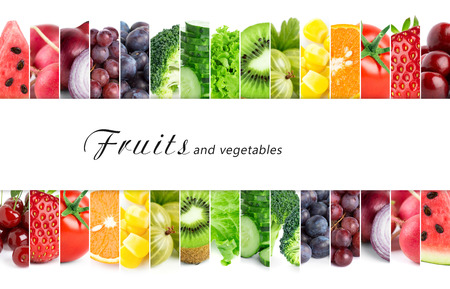 mixed fruit: Fresh color fruits and vegetables. Healthy food concept