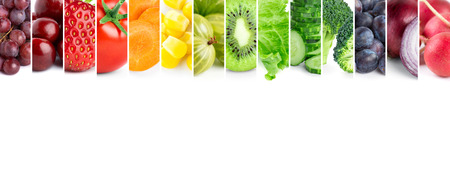 � healthy: frutas de color .Fresh alimentos saludables y verduras