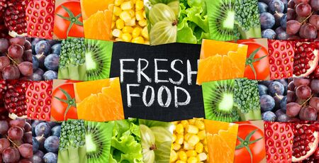 fresh concept: Fruits and vegetables concept. Fresh food background