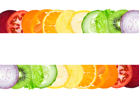 tomato slice: Fresh color slices of fruit and vegetable. Healthy food concept