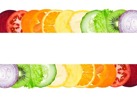 zanahoria: rebanadas frescas de color de las frutas y hortalizas. Concepto de alimentos saludables