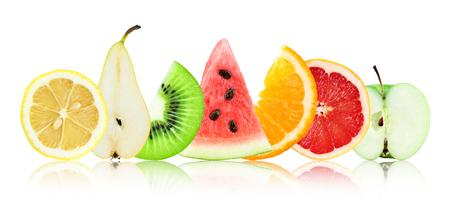 fruit background: Mixed fruit on white background. Fresh food