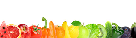 food healthy: Fruit and vegetable on white background. Food concept Stock Photo