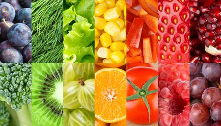 Las frutas y verduras de fondo. Concepto. Comida fresca