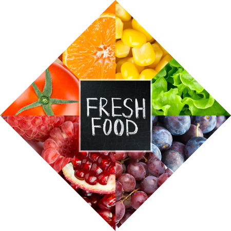 Fresh food. Fruits and vegetables concept Stock Photo