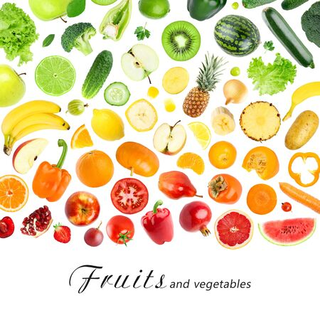 fresh concept: Fresh color fruits and vegetables concept