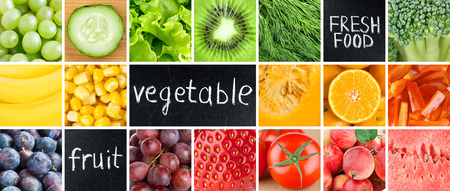 Healthy fresh food. Fruits and vegetables background Stock Photo - 52330385