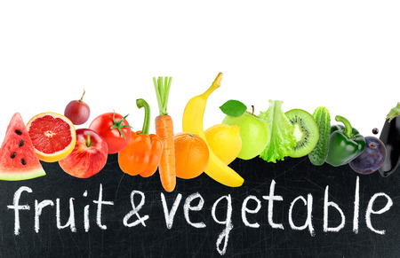 fresh concept: Color fruits and vegetables. Food concept