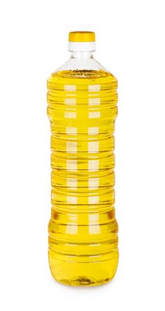 Bottle of sunflower oil on white background