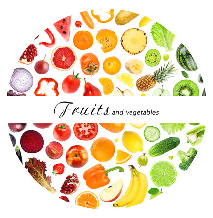 fresh concept: Fresh fruits and vegetables. Healthy food concept
