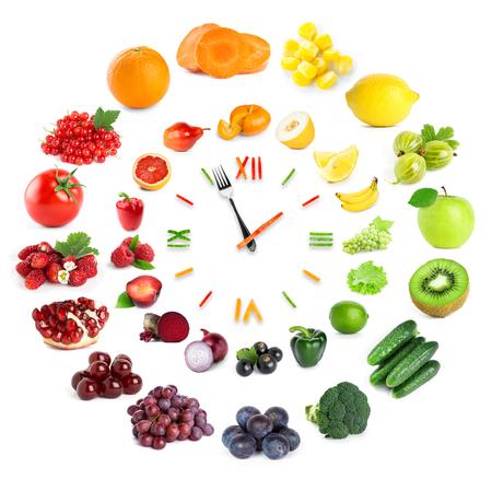 dieta sana: Reloj de la Alimentación con frutas y verduras. Concepto de alimentos saludables